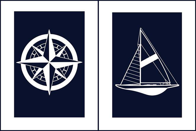 Картинки в морском стиле для оформления стен детской. Free printable: Nautical wall decor