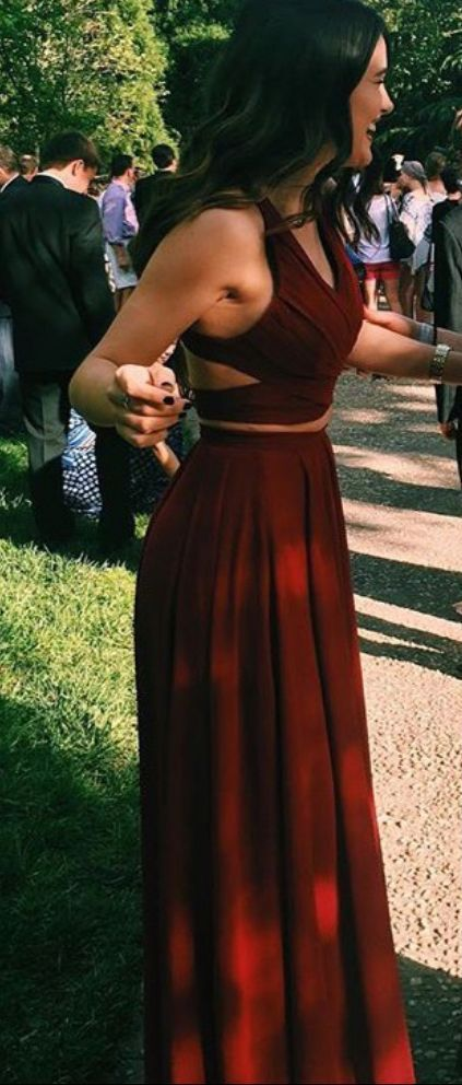 Gorgeous Red 2 pieces Prom Dresses Long Sexy Evening Gowns Chiffon Two Piece Formal Dress For Teens