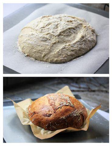 Zelf brood bakken stap voor stap: giststarter maken, brooddeeg kneden, laten rijzen, bakken in de oven, broodvormen omkeren en brood laten afkoelen op een rek
