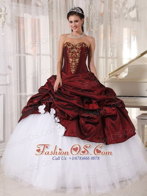 Best Burgundy and Sweetheart White Quinceanera Dress with Gold Appliques  $178.69  http://www.fashionos.com  http://www.facebook.com/quinceaneradress.fashionos.us  The burgandy and white strapless floor length quinceanera dress is your perfect choice to attend ball, and party.The fitted bodice is adorned with a sweetheart neckline and embellished appliques.While the skirt in contrasting colors with some exquisite flowers make the dress so gorgeous. A lace up back completes this fabulous…