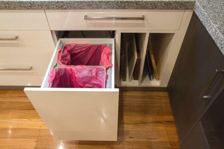 Contemporary kitchen with bin on servo-drive bin by Blum and Hafele. www.thekitchendesigncentre.com.au