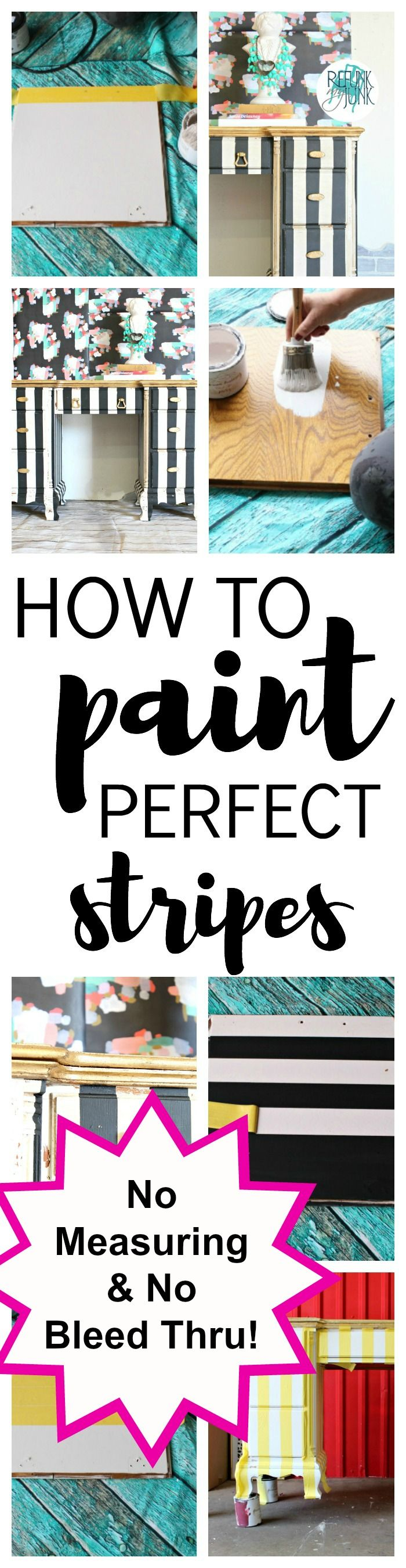 """How to paint the perfect stripes - One reader says """"I can't believe there is NO measuring and No bleed thru! Crazy!"""""""