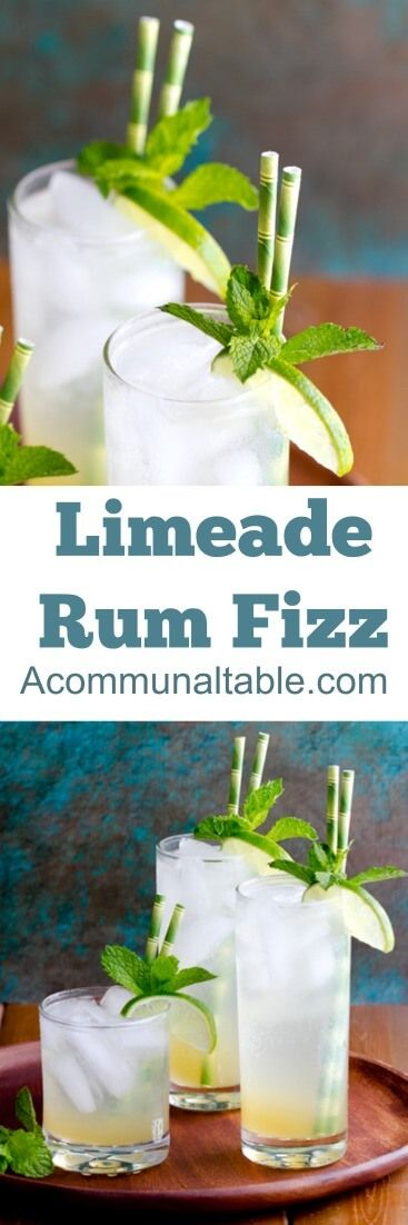 An infused simple syrup of lemongrass and ginger is the secret to this Limeade Rum Fizz cocktail. Omit the rum for a great non alcoholic drink!