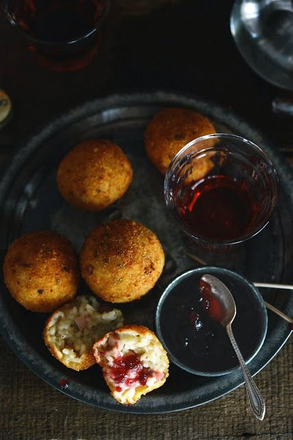 Ham and Brie Arancini with Cranberry Sauce and Negroni Cocktails