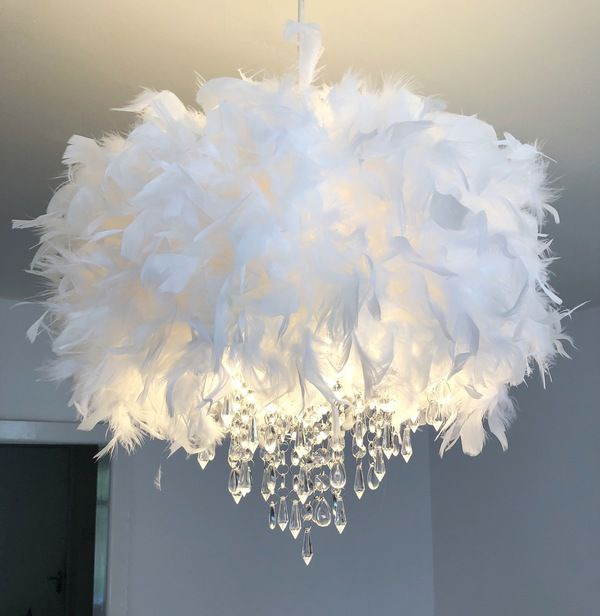White Feather Chandelier Light Shade Mydollhouse Decor In 2020