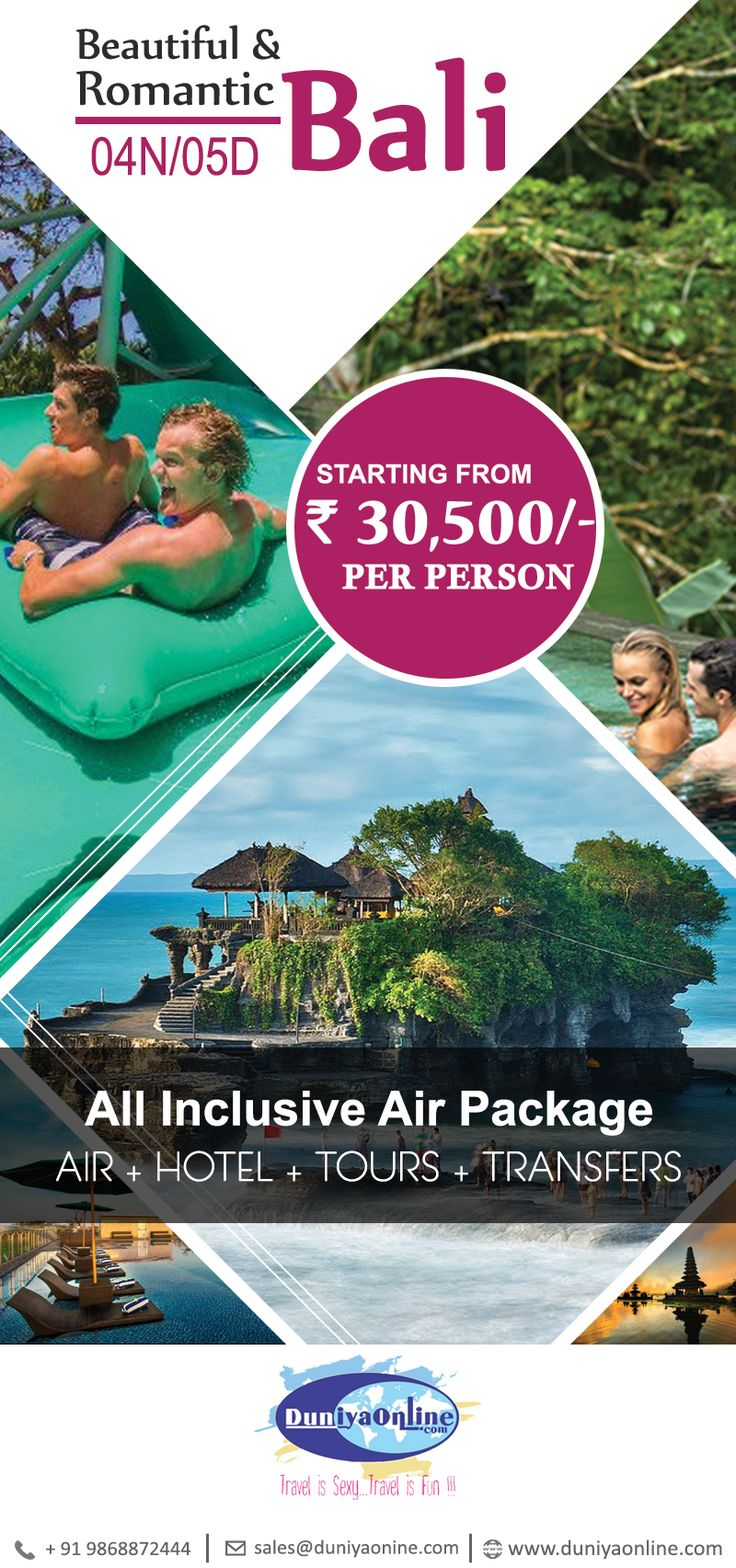 05 Days Beautiful & Romantic Bali - Best Priced All Inclusive Air Package. please contact us for more details and booking #bali #indonesia #balipackage #duniyaonline