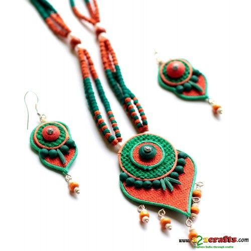 Jute Jewelry This beautifully handcrafted pendant and earring is hand sculpted using finest jute fabric, and intricately multicolored . Ultra light weight.   #jutejewellery