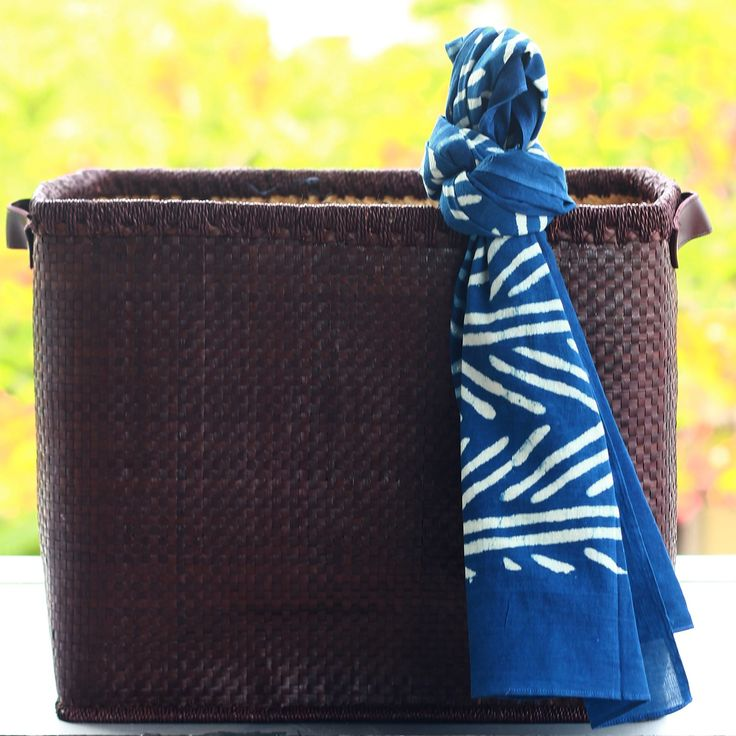 Indigo Pine Forest Stole - Classic cotton stole with an deep indigo backdrop and a pine forest like pattern adorning it.