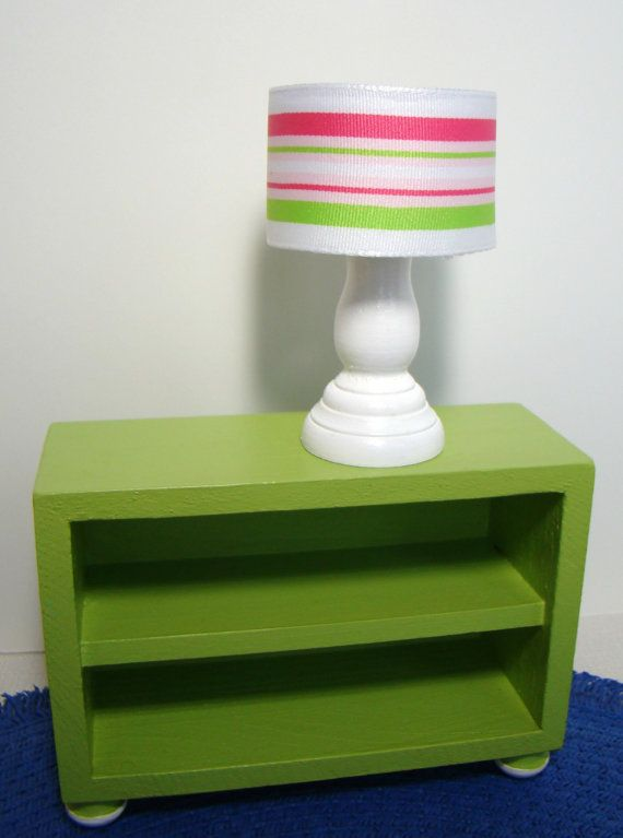 Barbie Furniture   White Table Lamp W Drum Lampshade In Pink And Green  Stripe Fabric
