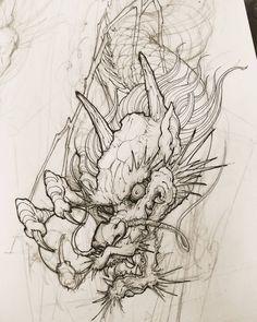 "4,157 Likes, 20 Comments - David Hoang (@davidhoangtattoo) on Instagram: ""Dragon sketch. #chronicink #asiantattoo #asianink #irezumi #tattoo #sketch #illustration #drawing…"""