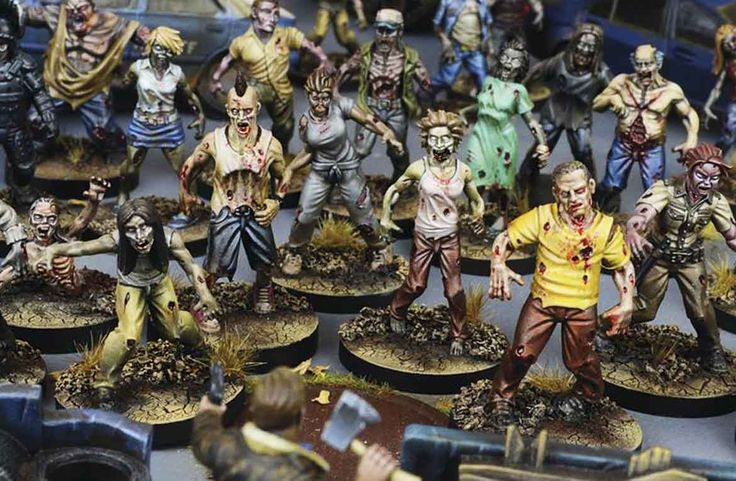 Some of the miniatures (already painted) of The Walking Dead All Out War. Photo: Paul McGroarty