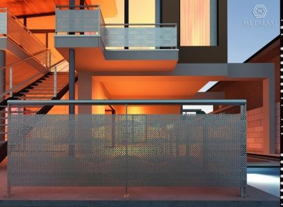 Aluminum perforated balustrades for balcony.  Metalaxi Innovative Architectural Products.  Life is in the details. www.metalaxi.com