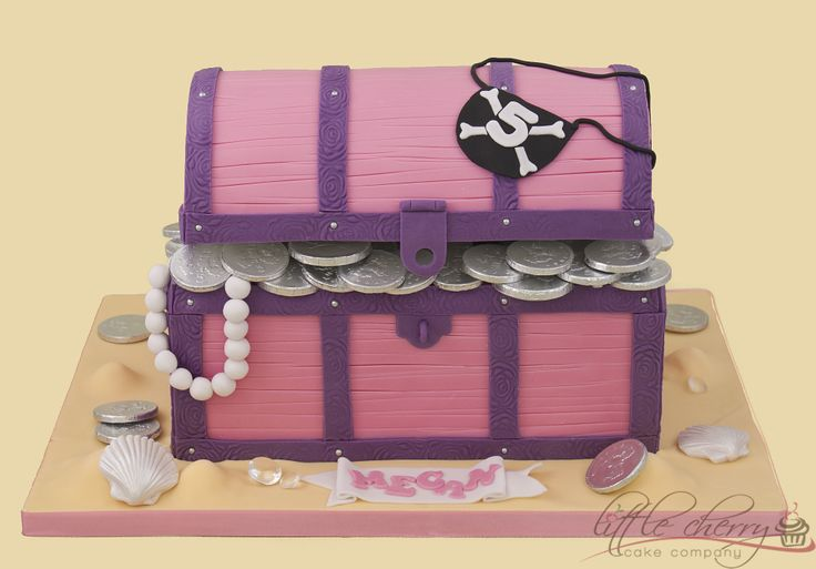 Pink and Purple Treasure Chest Cake - Girly Treasure!!