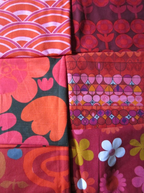 lovely red vintage fabrics by Heals, Conran, Dekoplus, Boras and Moygashel - from my rainbow vintage home blog