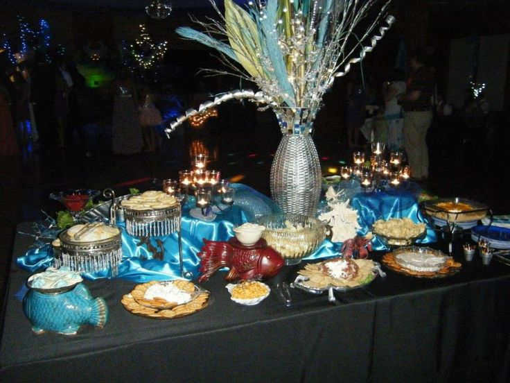 Decorated Tables dancing under the sea' themed prom snack table decorateda