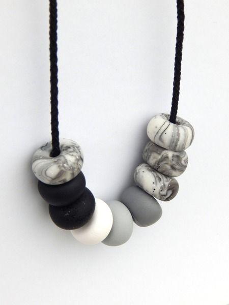 Halskette - Marmor, Stein und Eisen von Farbmanufaktur auf DaWanda.com