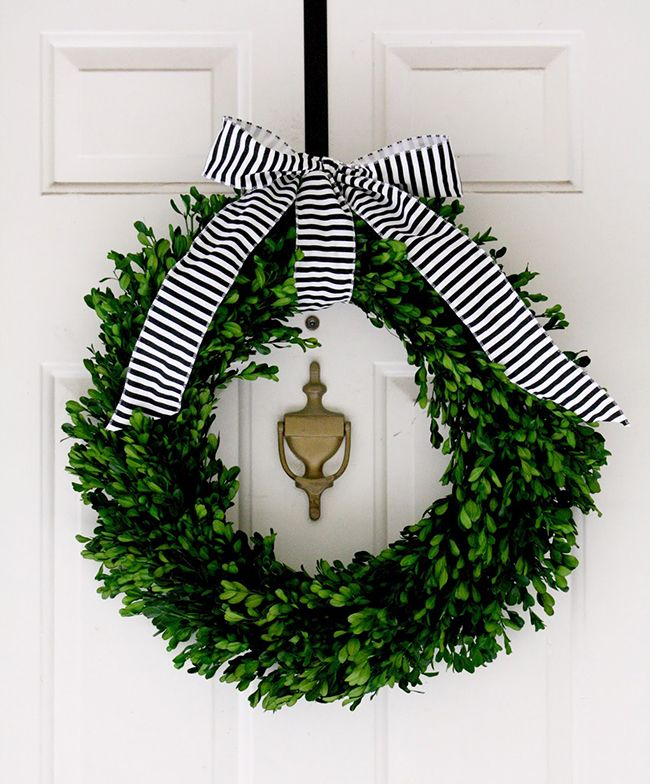 front door, wreath, boxwood, perfect for holidays or year round! I love the green boxwood with classic black and white stripe ribbon.