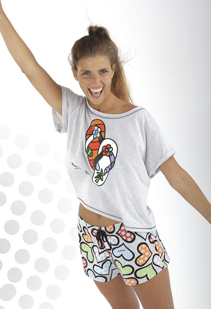 Pijama Mujer Britto en manga corta y pantalón corto.