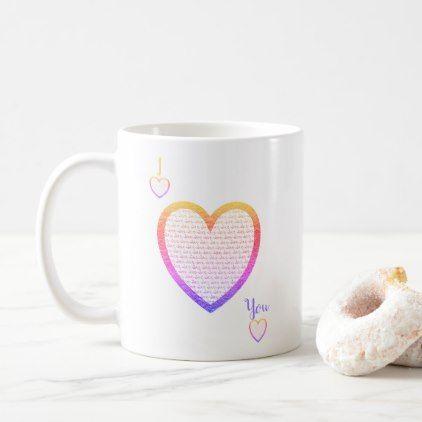 I LOVE U mug Calligraphy Rainbow Heart|Valentine | Zazzle.com