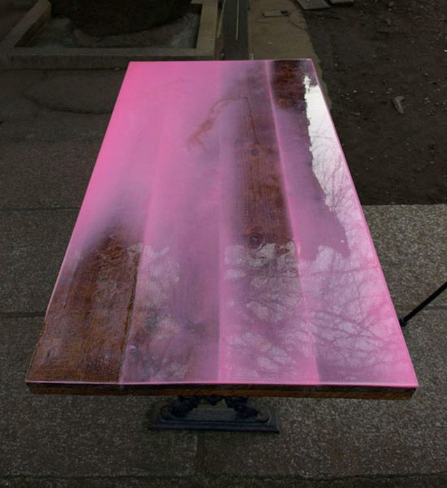 Epoxy an old wood table Lose the pink but idea is good