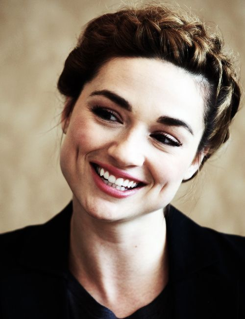 Crystal Reed halo braided updo