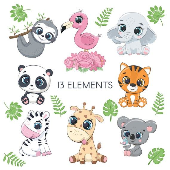 Cute Zoo Animals Clipart Png Eps Australian Animals Clipart Etsy Cute Animal Clipart Animal Clipart Cute Baby Animals