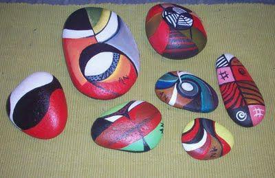 Artes nativos cuadros modernos decorativos y abstractos - Piedras de rio pintadas ...