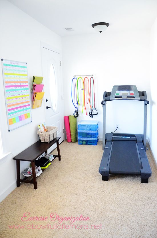 Exercise Room Organizing - A Bowl Full of Lemons I want a workout corner in our new house! This space looks great.