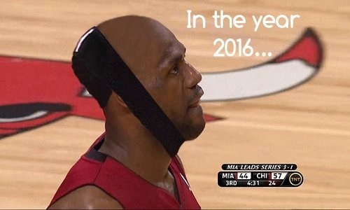 lebron's hairline in 2016 the bull is like tottaly stabbing him thought the mouth