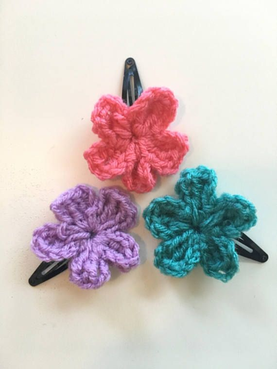 Crochet Bobby Pin Crochet Clip with flower bow or heart