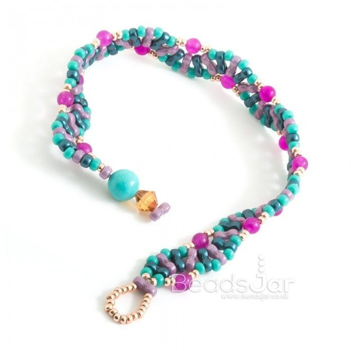 Turquoise Wave Beaded Bracelet. FREE Tutorial At Beads Jar UK
