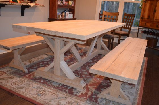25 best ideas about kitchen tables on pinterest redoing for Post trestle farm table plans