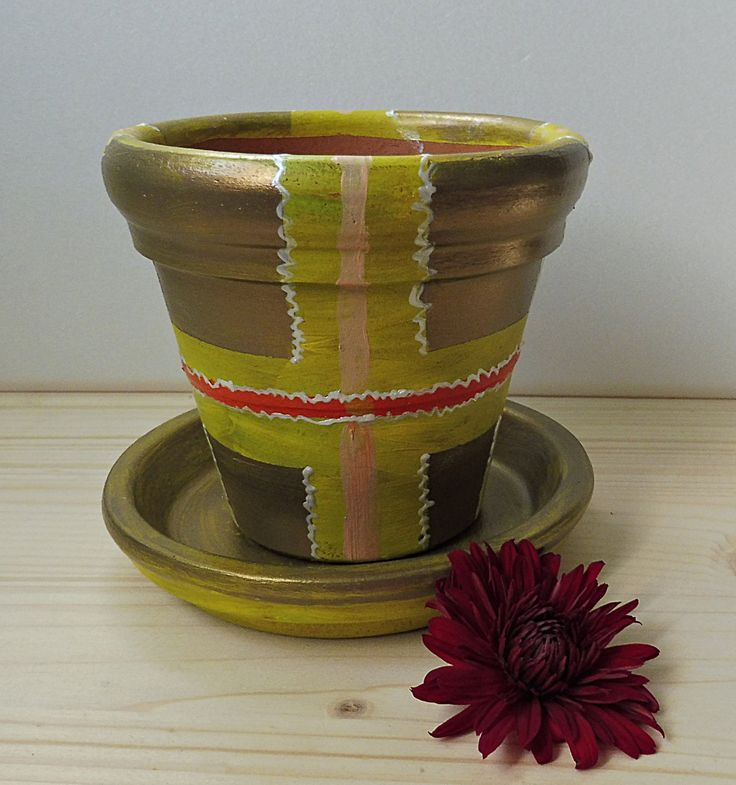 Christmas Pottery Gift, Painted Clay Pots, Painted Flower Holders, Terracotta Holders, Yellow Pottery, Small Clay Pots, Painted Clay Pottery by PaCoShaBe on Etsy