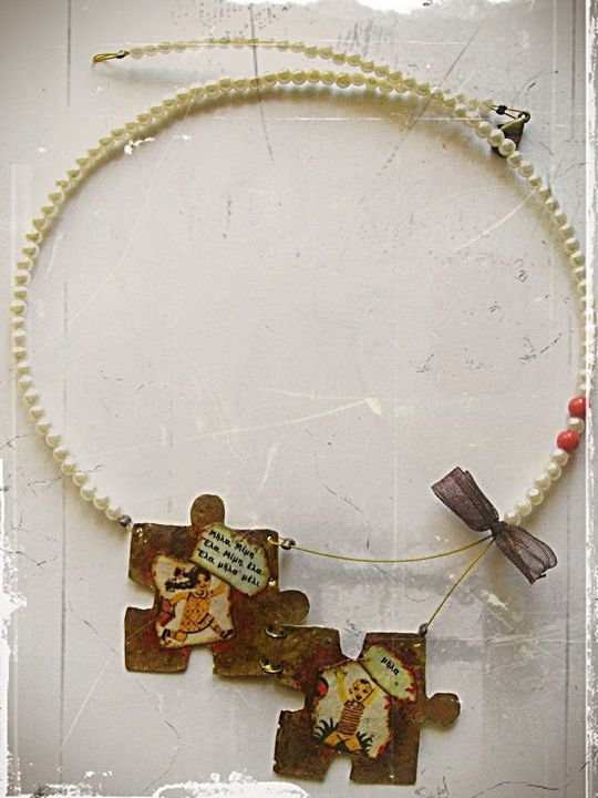 necklace pearl and metal