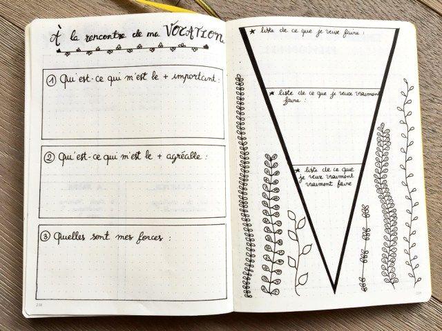 a la rencontre de ma vocation  Bullet journal français / bujo / orientation professionnelle / objectifs