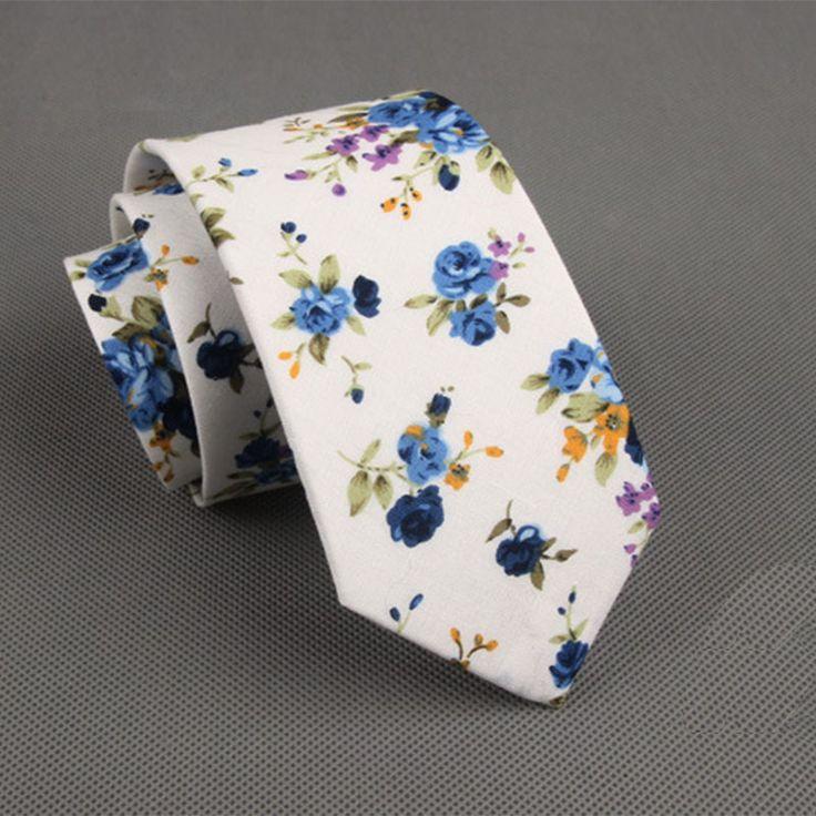 Mantieqingway Corbatas Flower Polka Dots Slim Neck Ties for Men Vestidos Tie Blue Flower Printed Narrow Neckties Men Floral Ties