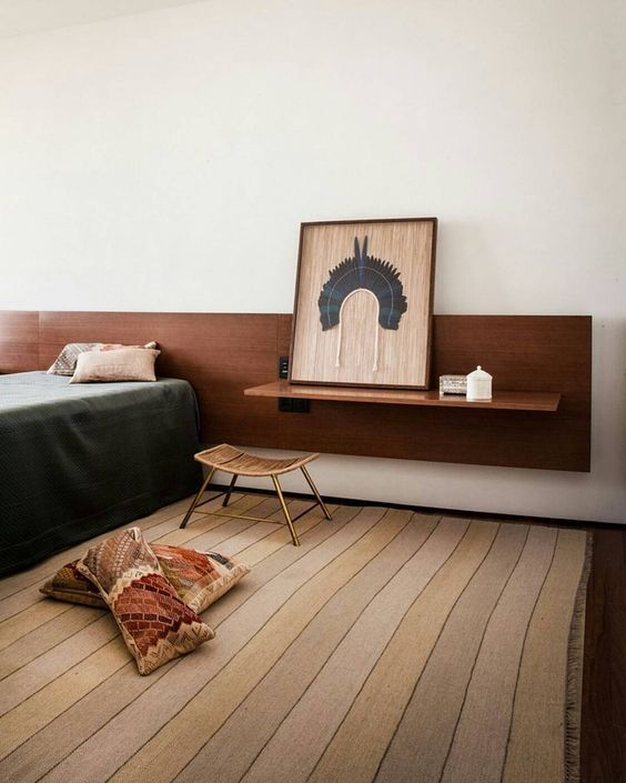 Simple Wall Fixed Bedroom Furniture Retro Style Headboard With Floating Shelves Tonal And