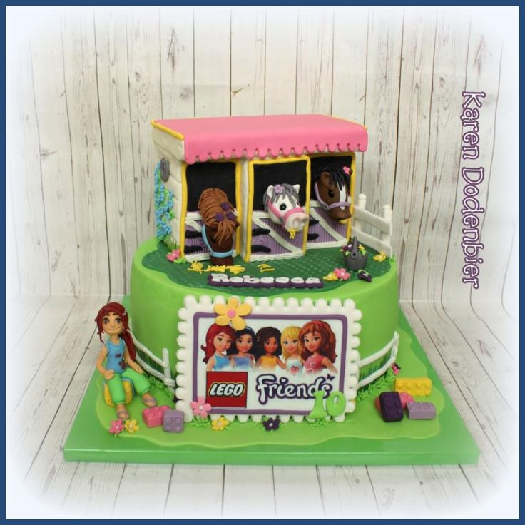 LEGO Friends with horses! - Cake by Karen Dodenbier