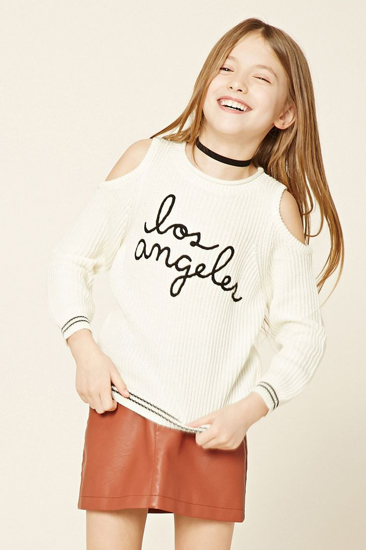 """Forever 21 Girls - A ribbed knit sweater featuring an embroidered """"Los Angeles"""" on the front, open-shoulder design, rolled trim on round neckline, contrast stripe trim, and long sleeves."""