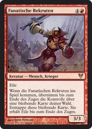 Zealous Conscripts - Human Warrior; Haste, When Zealous Conscripts enters the battlefield, gain control of target permanent until end of turn. Untap that card. It gains haste until end of turn.