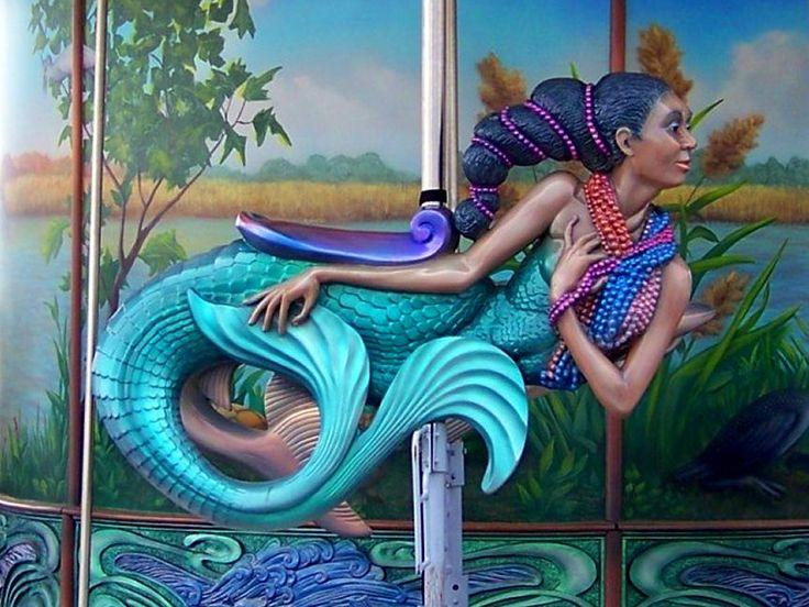 African American mermaid on  Carousel
