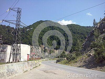 Road view near Siriu dam, Buzau, Romania.