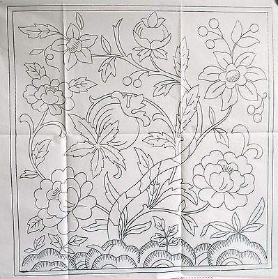 VINTAGE SILVER EMBROIDERY TRANSFER - LARGE SQUARE JACOBEAN CUSHION / FIREGUARD