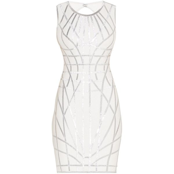 Herve Leger Romee Metallic Caging Bodycon Dress (£1,205) ❤ liked on Polyvore featuring dresses, caged bodycon dress, white cocktail dress, white rayon dress, rayon dress and sleeveless dress