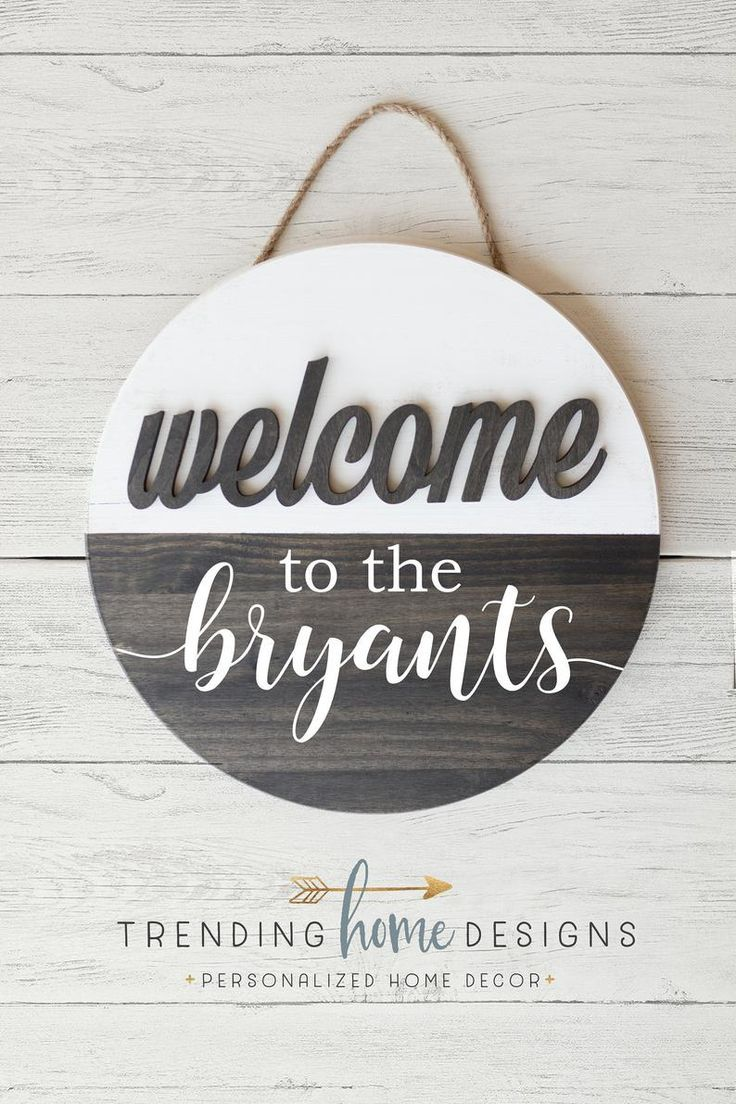 Round Family Name Sign Round Welcome Sign Farmhouse Etsy Welcome Signs Front Door Name Signs Family Name Signs