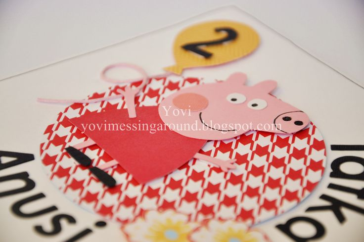 Peppa Pig , card , handmade , scrapbooking , diy , children