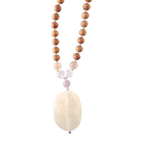 *Yellow Calcite, Clear Quartz, Pink Moonstone, Lepidolite*  The Happy Mama Mala sets an intention of joy and happiness, shining light on the the opportunities that bring lasting happiness and encouraging you to see the positive in every situation.