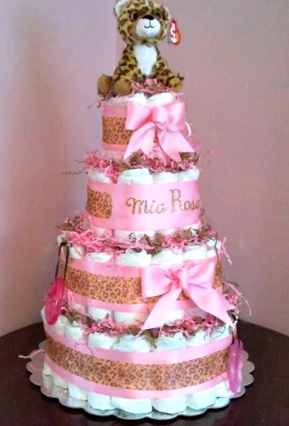 Pink Leopard Diaper Cake from Saving by Design