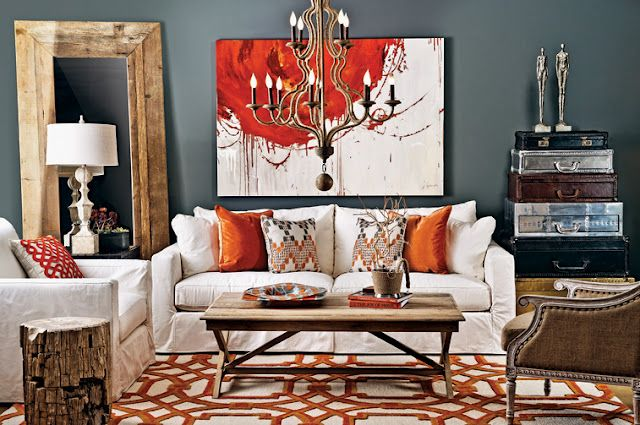 Gray and orange living room this is exactly what i want for mine