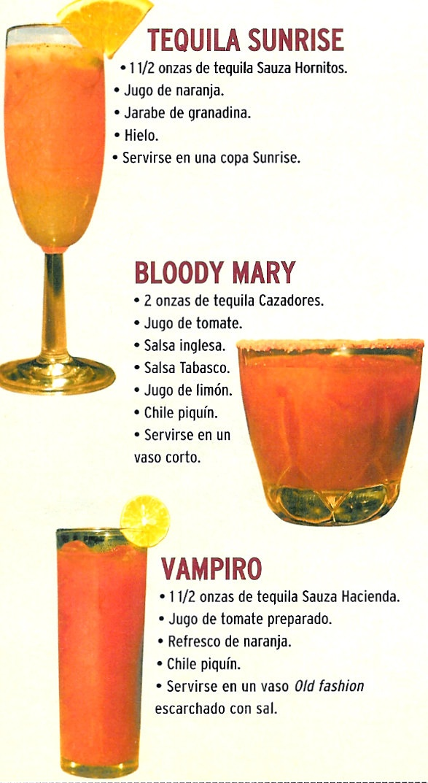 Tequila sunrise bloody mary vampiro recetas bebidas for Preparacion de margaritas